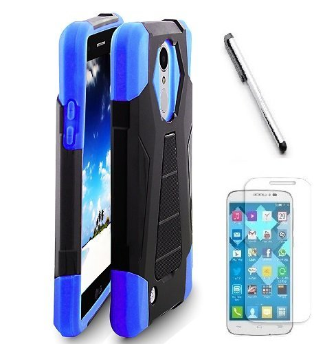 Lg Blue Phone Faceplates (LG Fortune M153 ( Cricket ) case, LG Phoenix 3 M150 ( AT&T ) Case, Luckiefind Premium Hybrid Dual Layer Case with Stand, Stylus Pen, Screen Protector Accessory. (Stand Blue))