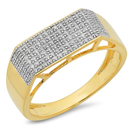 0.40 Carat (ctw) 10K Yellow Gold Round White Diamond Men's Hip Hop Micro Pave Wedding Band (Size 10) by DazzlingRock Collection