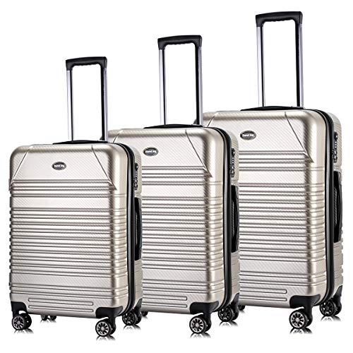 Luggage Set Expandable Premium Carbon Fiber Suitcase 3 Piece Set TSA Lightweight Spinner Carry On Luggage ()