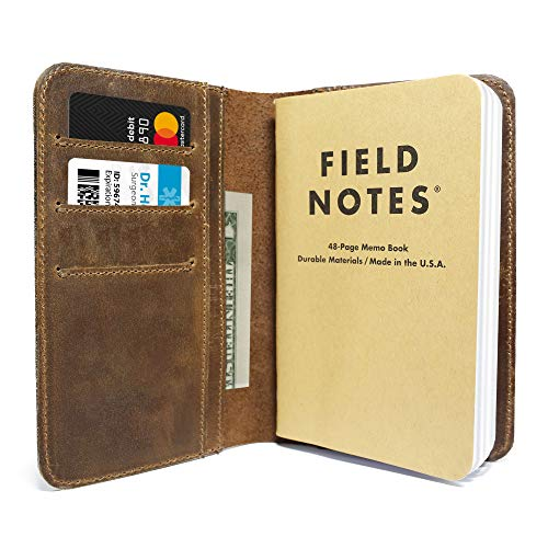 Leather Field Notes Cover for Memo, fits Moleskine Cahier Pocket Sized Notebook, fits 3.5
