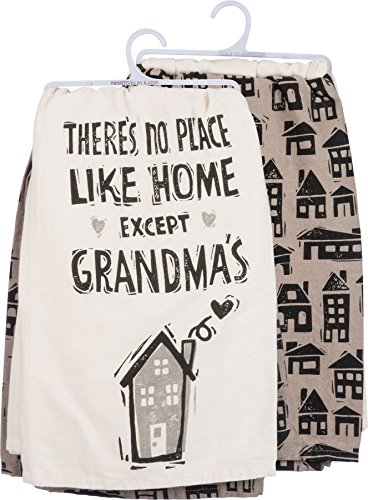 Grandmas Dishes - Primitives by Kathy Dish Towel Set - There's No Place Like Home Except Grandma's