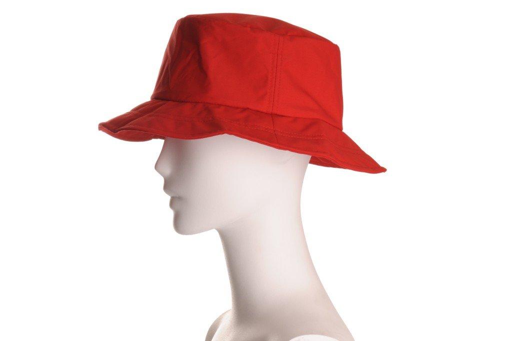 Happy Rainy Days Foldable, Adjustable Rain Hat, Red