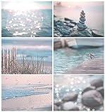 ''Day at the Beach'' 6 Print Canvas Set - Nautical Wall Art, Lakehouse Art, Beach Art