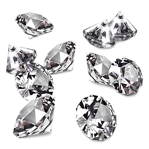 Nexxxi 12 Pack 4cm Big Clear Acrylic Diamonds with Super Big Bling for Wedding Bridal Shower Birthday Party Decorations Vase Fillers