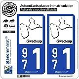 2 Stickers de plaque d'immatriculation auto 971 Gwadloup - Carte