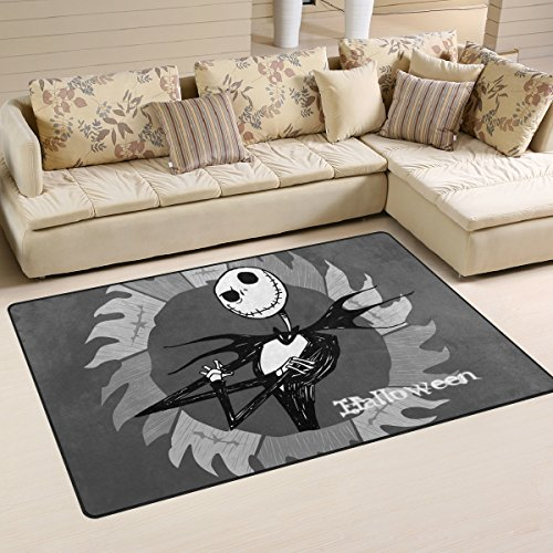 DEYYA Non-Slip Area Rugs Home Decor, Hipster Halloween Skeletons Floor Mat Living Room Bedroom Carpets Doormats 60 x 39 inches -