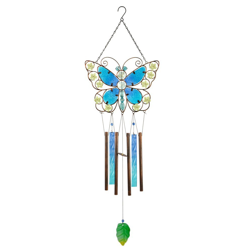 Red Carpet Studios Blue Glass Butterfly Wind Chime Red Carpet Studios Ltd 10171