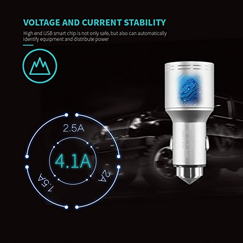Stainless Steel Car Carbon Monoxide Detector, Quick Charge 3.0 USB Type C Fast Car Charger Adapter, CO Alarm Detector with Emergency Glass Breaker(Silver) by FASOHERE (Image #6)