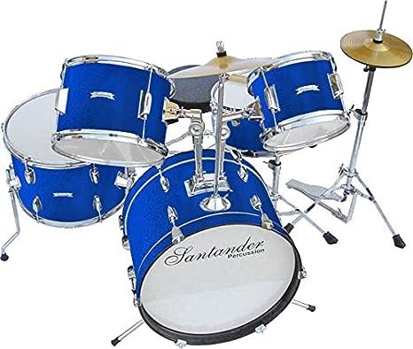 Santander Impacto juguete grande completo de batería infantil, 8 piezas, color azul: Amazon.es: Instrumentos musicales