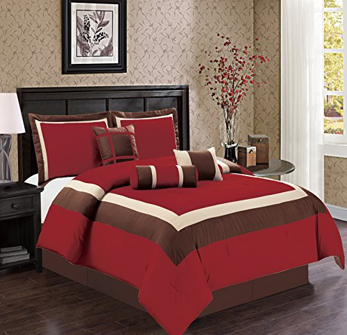 7 Piece QUEEN Size BURGUNDY RED / BROWN / BEIGE Color Block MILAN Goose Down Alternative Comforter set 90