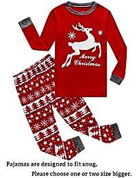 little boys girls red stripe christmas pjs cotton pajama sets