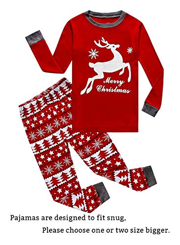 Family Feeling Little Girls Boys Long Sleeve Christmas Pajamas Sets 100% Cotton Pyjamas Kids Pjs Size 7 Reindeer -