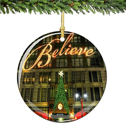 Believe Christmas Ornament, New York City Porcelain 2.75