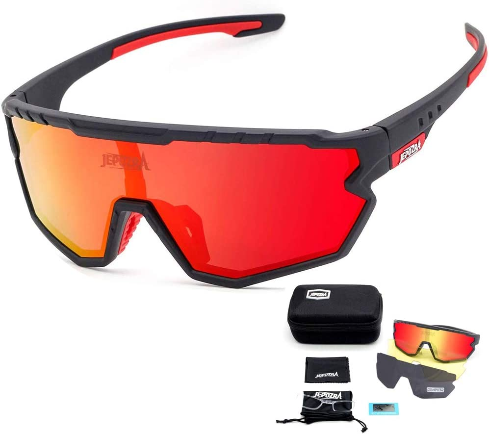 JEPOZRA Polarized Sports Sunglasses with 3 Interchangeable Lenses,Mens Womens Cycling Glasses,Bike Glasses Bicycle Sunglasses for Driving Cycling Running Fishing