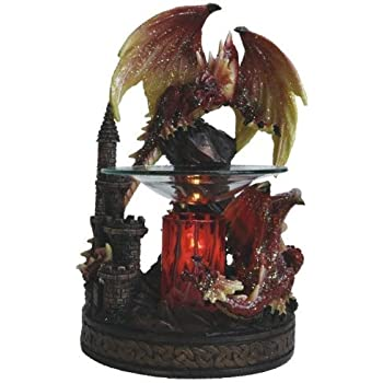 Poly Resin RED DRAGON Figurine Electric Oil Warmer or Tart Burner with Free Pack Tart Melts and Free Replacement Bulb