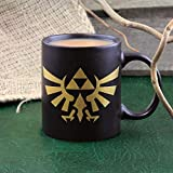 Paladone Legend of Zelda Hyrule Ceramic Coffee Mug Collectors Edition, Black & Gold, 8.5x14x10.6 cm