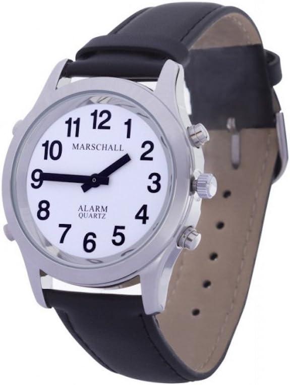 Parlante analógico reloj de pulsera para hombre 38mm color plateado con pulsera de piel h de SL