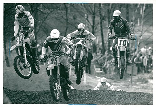 (Vintage photo of Moto Cross: 1990 British Motor Cross Championship: Justin Banks, Paul Irwin, Jeremy Whatley and Willie Simpson.)