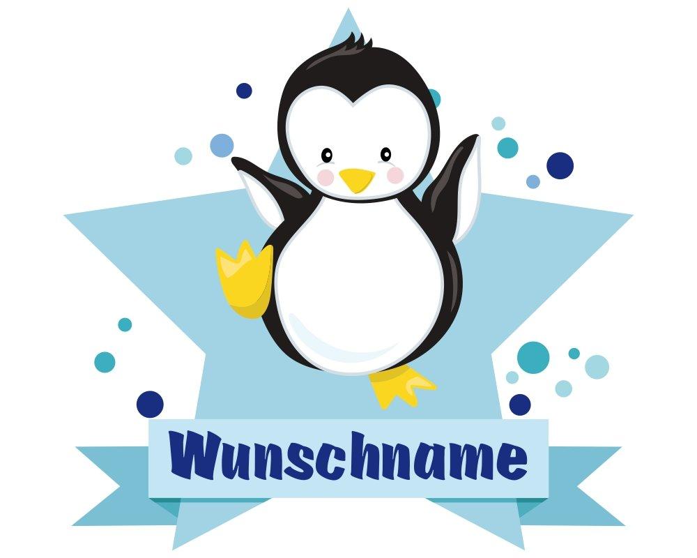 plot4u Baby Pinguin Aufkleber mit Namen Autoaufkleber Namensaufkleber Kinder in 7 Größen (10x8,8cm Mehrfarbig)