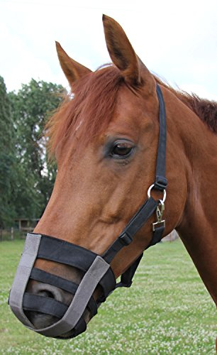 Pferdemaulkorb Fressbremse, Maulkorb für Pferde Weidemaulkorb bei Rehe, Kolik, VerfettungTextil ohne Gummi, leicht zu befestigen verstellbar, Gr. Pony