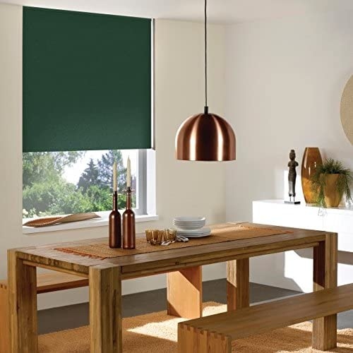Windowsandgarden Custom Roller Shades, Any Size 19-96 Wide, 94W x 93H, Reminiscent Blackout Hunter Green
