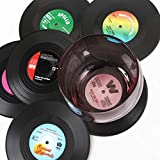 homEdge Vinyl Record Coasters, 6 Pieces of Retro