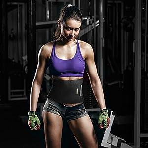 Bracoo Waist Trimmer, Neoprene Sweat Belt, Adjustable Caloric Burner, Sauna Band – Increased Core Stability, Metabolic Rate & Shedding Excess Water Weight,Men & Women