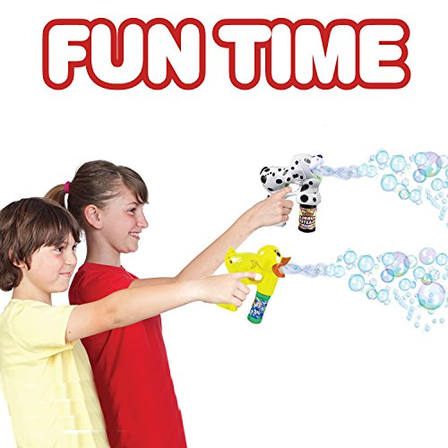 ArtCreativity Bubble Blaster Duck & Dalmatian Set with Lights and Sound Includes a Duck Bubble Gun, Dalmatian Bubble Gun & 4 Bottles of Solution, Great Gift for Kids (Batteries Included)