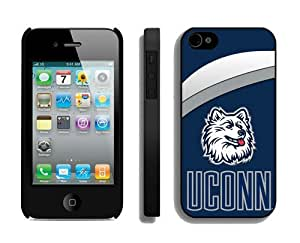 Custom Case for Iphone 4/4s Hard Cover Ncaa Connecticut Huskies 03 Sport Design Coolest Phone Protector Accessories