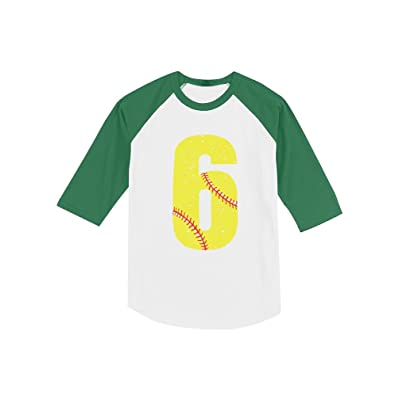 6th Birthday Gift 6 Year Old Softball Fan Toddler Raglan 3/4 Sleeve Baseball Tee