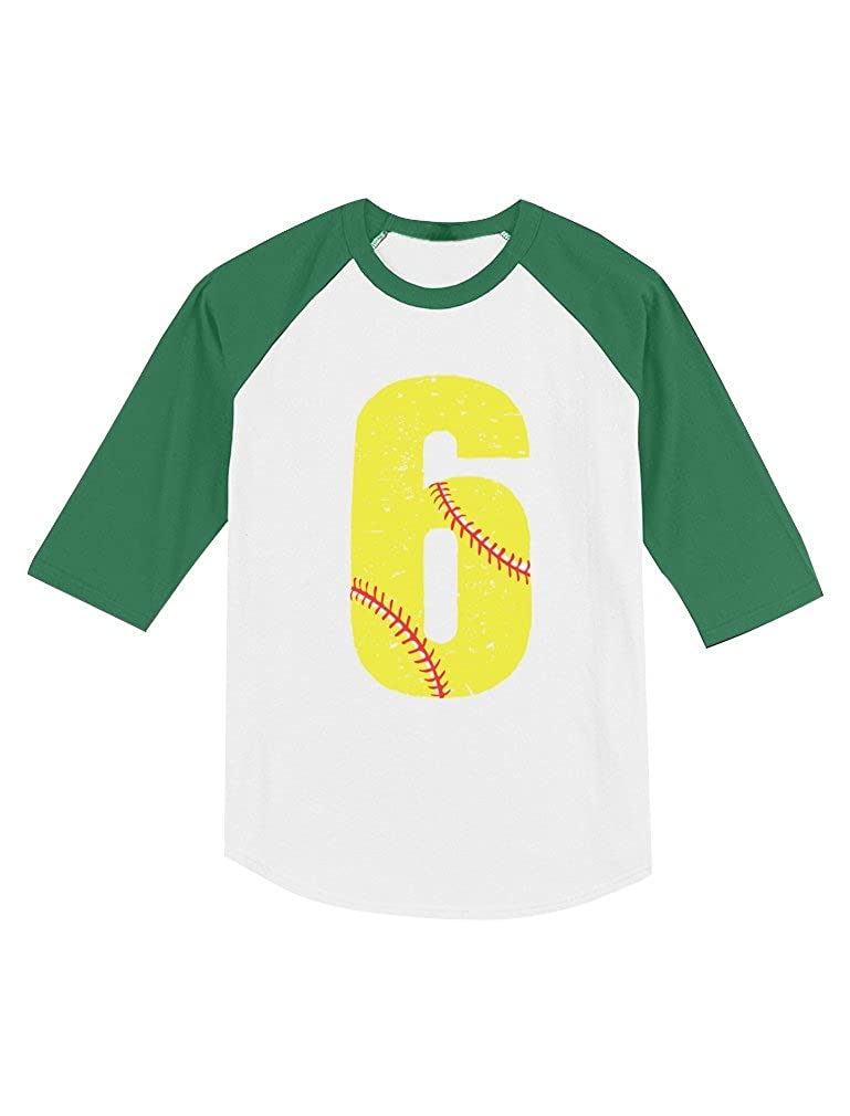 6th Birthday Gift 6 Year Old Softball Fan Toddler Raglan 3//4 Sleeve Baseball Tee