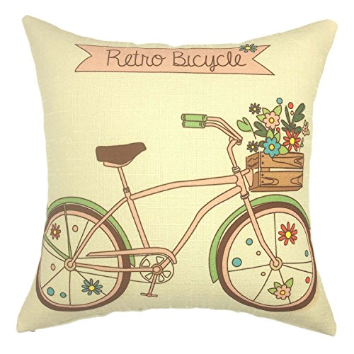 YOUR SMILE-Retro Bicycle Cotton Linen Square Cushion Covers