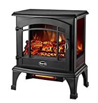 Dura Heat Comfort Glow EQS5140 Sanibel 3-Sided Infrared Quartz Electric Stove, Length: 11in, Width: 20in, Height: 23.5in, Black