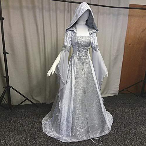 Vestito A Sera Donna Con Tunica Cocktail Abito Panpany Rinascimentale Partito Bianca Cappuccio Maniche Medievale Lunghe 9W2EIDH