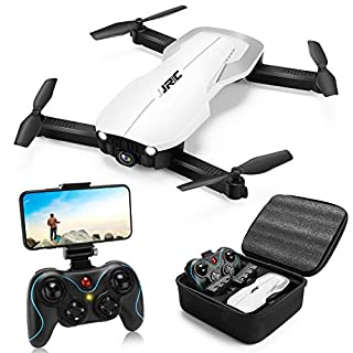 Drones with 1080P HD Camera for Adults,JJRC Foldable Drone with 2 Batteries,Optical Flow Positioning Quadcopter with Carrying Case for Beginners-Headless Mode,Altitude Hold(White)