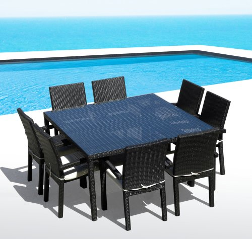 Outdoor Patio Wicker Furniture New Resin 9 Pc Square Dining Table & Chairs Set