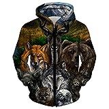 Animal Printed Zipper Hoodies 3D Hoodies Men Unisex Sweatshirts Autumn Pullover Casual Tracksuits AF1605 6XL