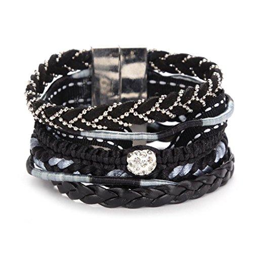 Molyveva Boho Leather Wrap Bracelet Rhinestone Rope Braided Cuff Bangle for Women Girl Wife Best Gifts (Black)