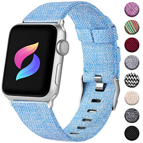 Haveda Bands Compatible with Apple Watch Band 42mm 44mm, Woven Fabric Canvas Wrist Band for Women Men with iWatch Series 4 Series 3/2/1, Turquoise