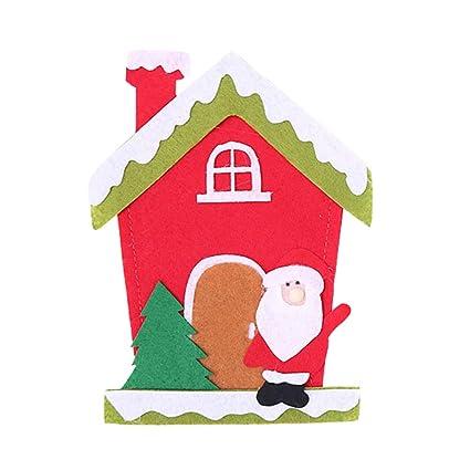BESTOYARD 5 unids Navidad Cubiertos de Plata Bolsillos casa patrón de Tela de Navidad Cubiertos Cubiertos