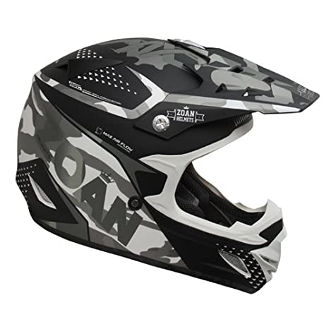 Amazon.es: Zoan MX-2 Sniper negro mate plata Offroad motocicleta casco de equitación, juventud pequeño