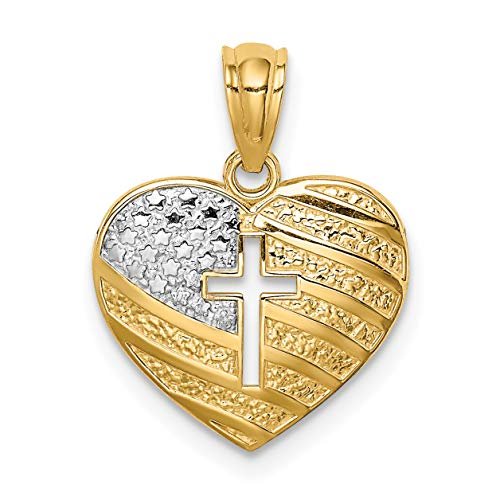 14k Yellow Gold Heart Shaped Pendant With United States American Flag And Cross ()
