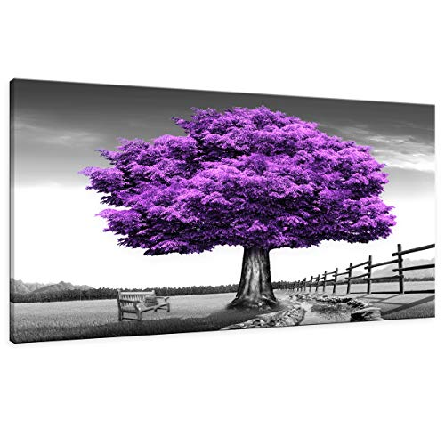 "HUADAOART Wall Art for Living Room Landscape Purple Tree Canvas Wall Decor 1 Pieces 24"" x 48"" Modern Landscape Canvas Artwork Contemporary Nature Pictures Painting Giclee Prints Framed Ready to Hang"