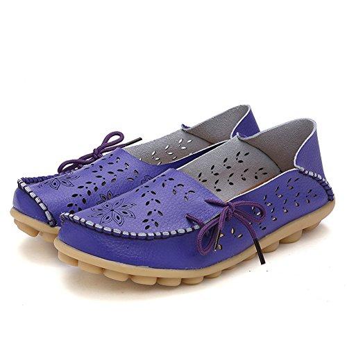 Lucksender Frauen aushöhlen Carving Casual Leder Fahren Flache Loafers Schuhe Lila