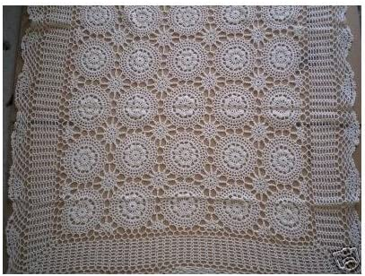 Pretty Green White Gingham Matching Crochet Lace Ribbon Table Topper