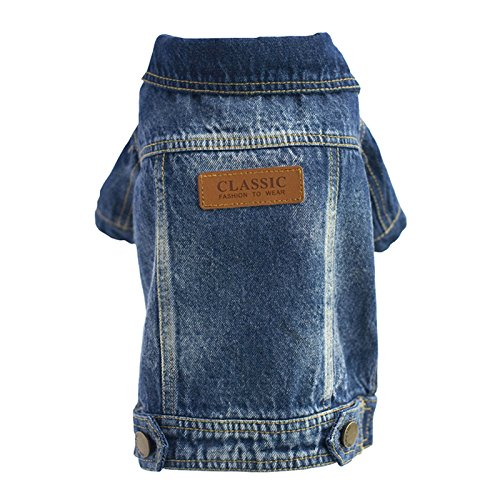 Diva Dog Clothes - SILD Pet Clothes Dog Jeans Jacket Cool Blue Denim Coat Medium Small Dogs Lapel Vests Classic Hoodies Puppy Blue Vintage Washed Clothes(L, Badge)