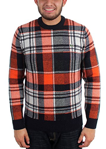 Lacoste Sweater Dress - Lacoste - Mens L!Ve Jacquard Check Sweater, Size: Small, Color: Navy/Orange/Green