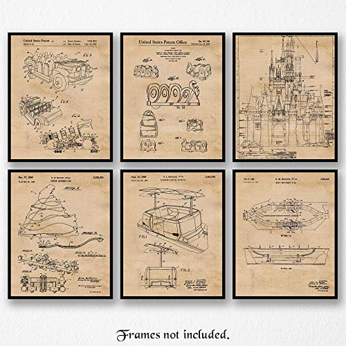 Original Disney Rides Patent Poster Prints- Set of 6 (Six 8x10) Unframed Pictures- Great Wall Art Decor Gifts Under $20 for Home, Office, Garage, Man Cave, Student, Teacher, Theme Park Fan