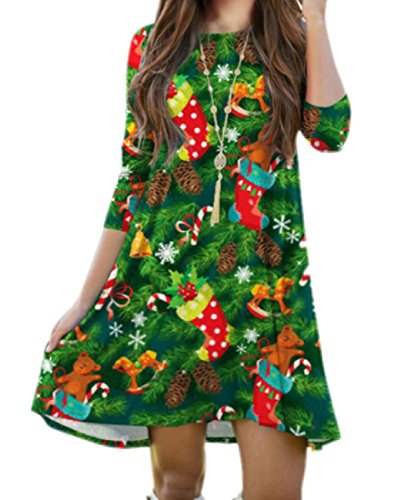 Les Femmes Coolred Taille Plus Floral Imprimé 3/4 Noël Robes Club Manches Vert