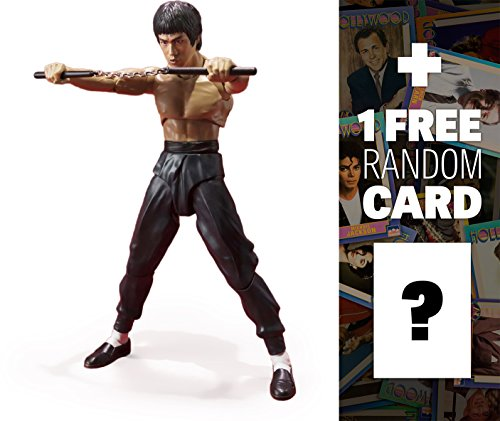 """Bruce Lee: ~5.5"""" Tamashii Nations S.H. Figuarts Action Figure + 1 FREE Official Hollywood themed Trading Card Bundle"""